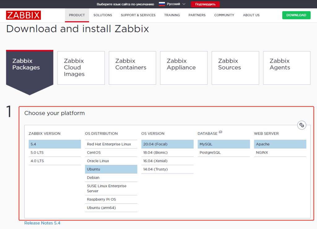 пакеты zabbix для установки