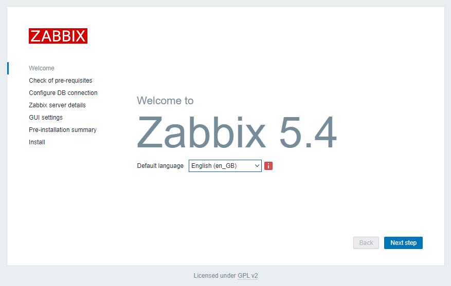 Установка Zabbix 5.4 веб-интерфейс