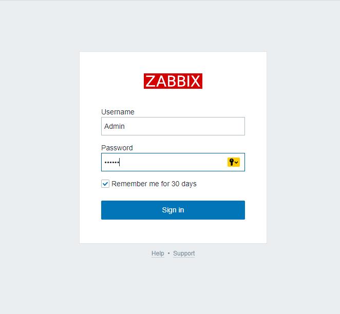 логин пароль zabbix по умолчанию